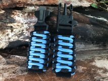 16 mm to 28 mm Two Tone Black Light Blue Black Lines Watch Band