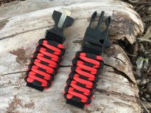 16 mm to 28 mm Two Tone Solid Black and Orange Black Lines Survival Watch Band